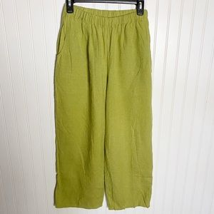 Women's Flax Linen Chartreuse Basic Pull On Pant S
